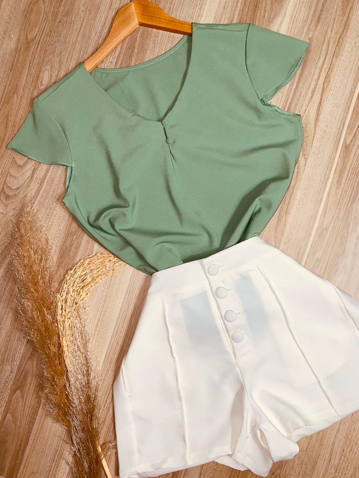 Blusa Manga Curta Fashion Verde Claro
