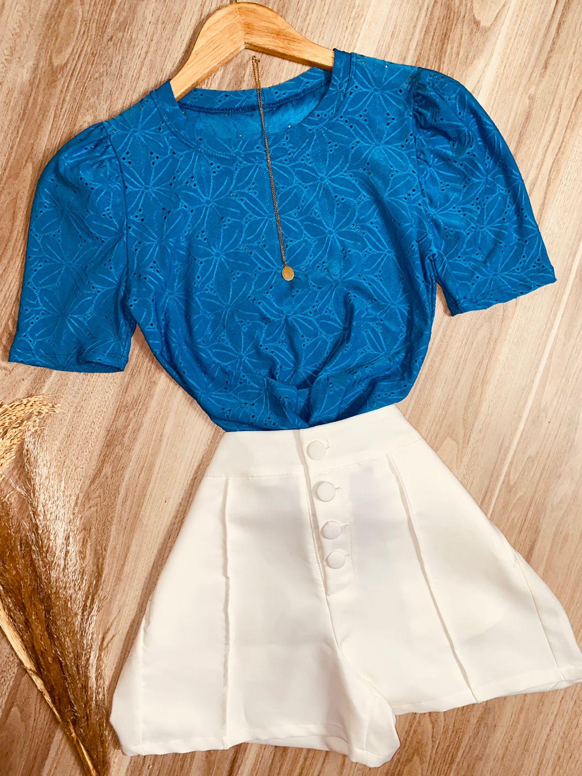 Blusa Manguinha Princesa Azul