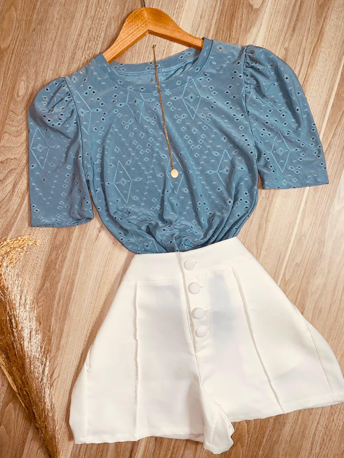 Blusa Manguinha Princesa Azul Claro
