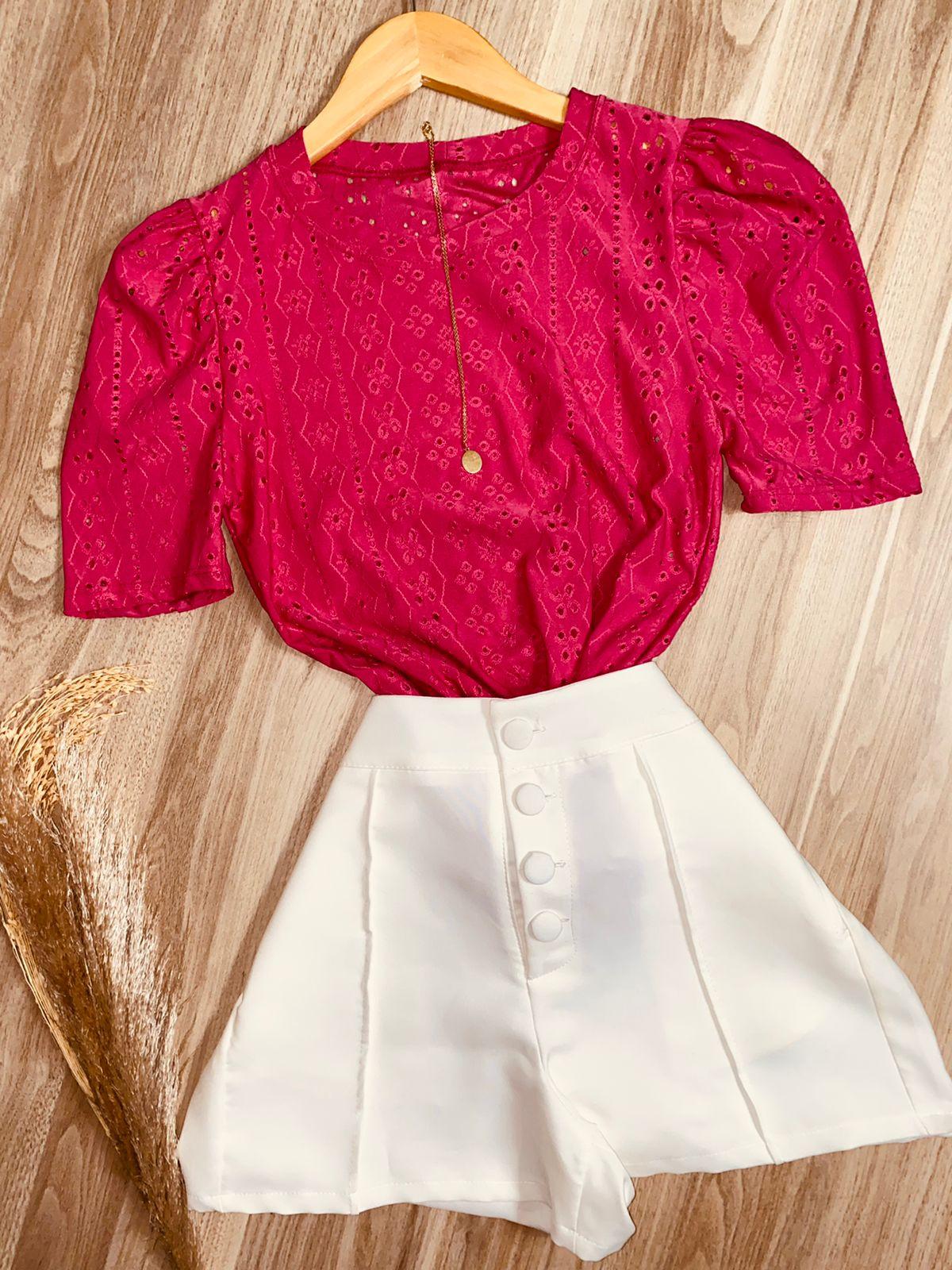 Blusa Manguinha Princesa Pink