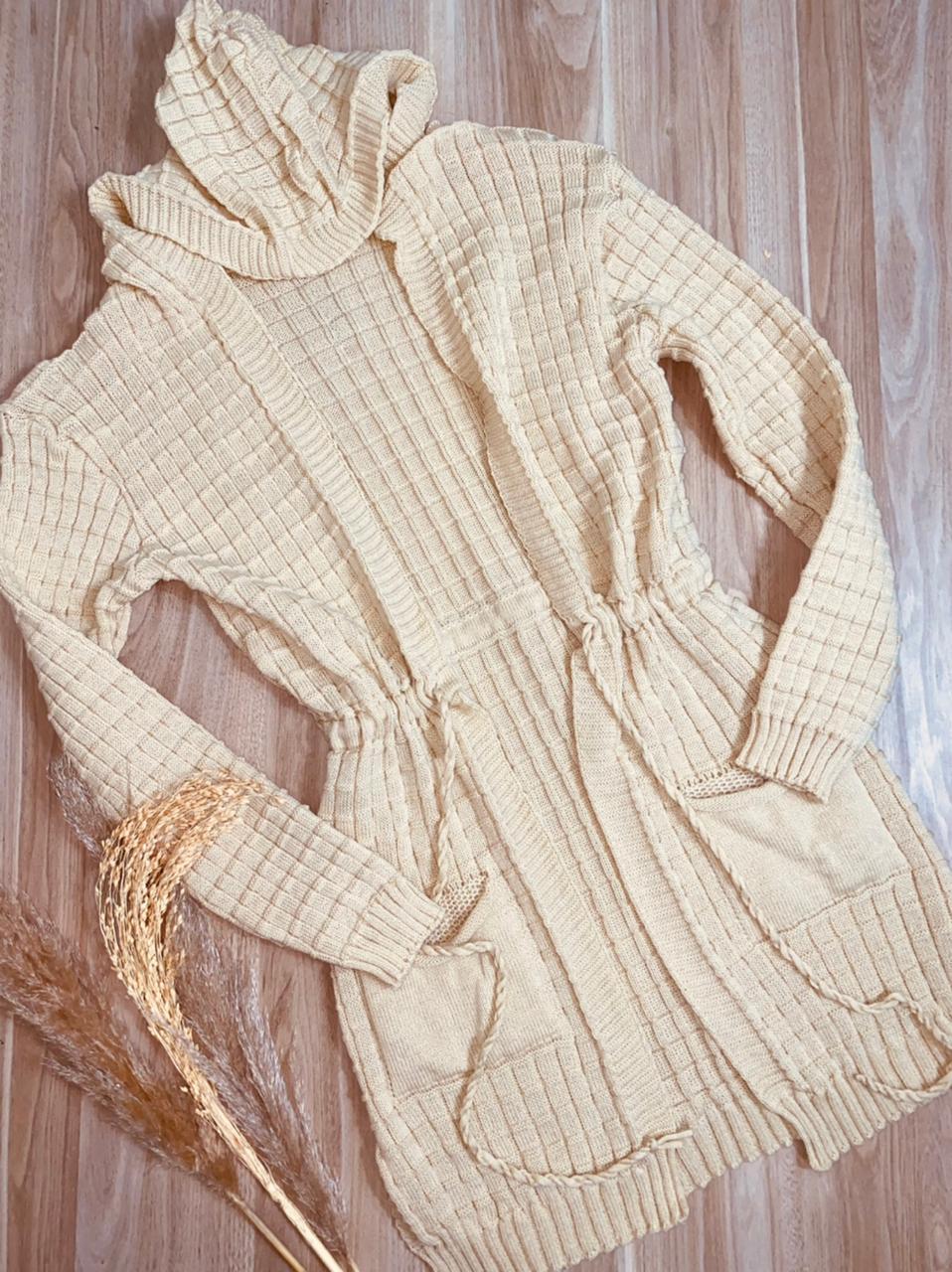 Blusa Maxi Cardigan Tricot Creme