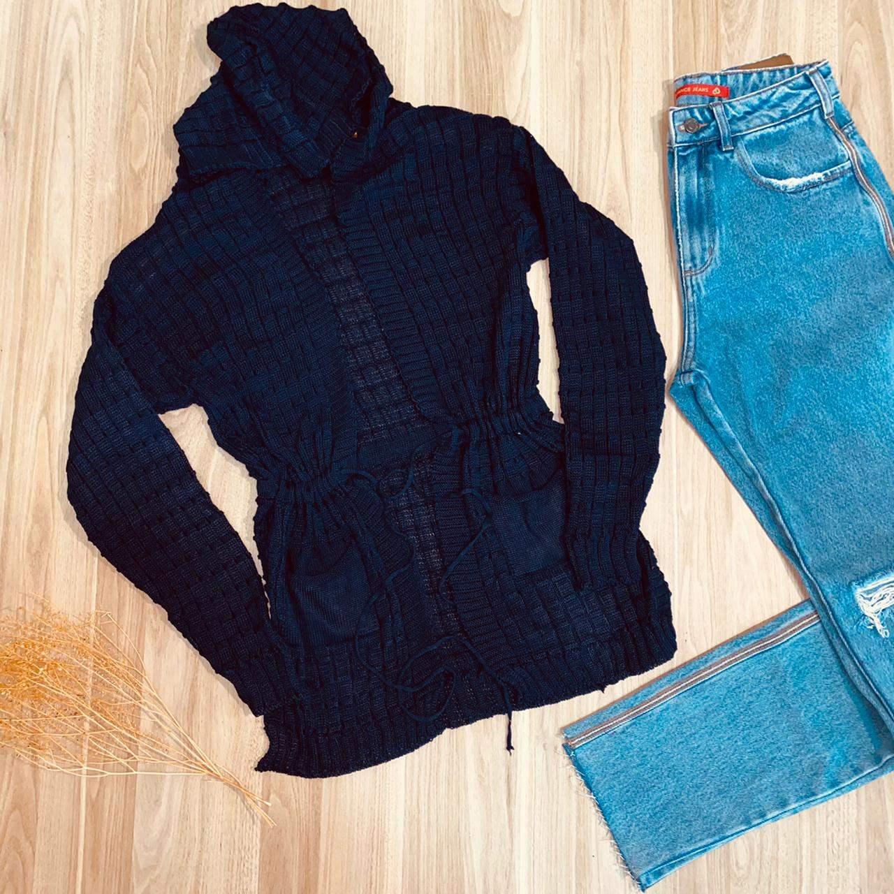 Blusa Maxi Cardigan Tricot Fashion Dark Blue