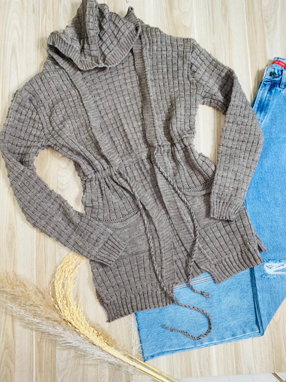 Blusa Maxi Cardigan Tricot Top