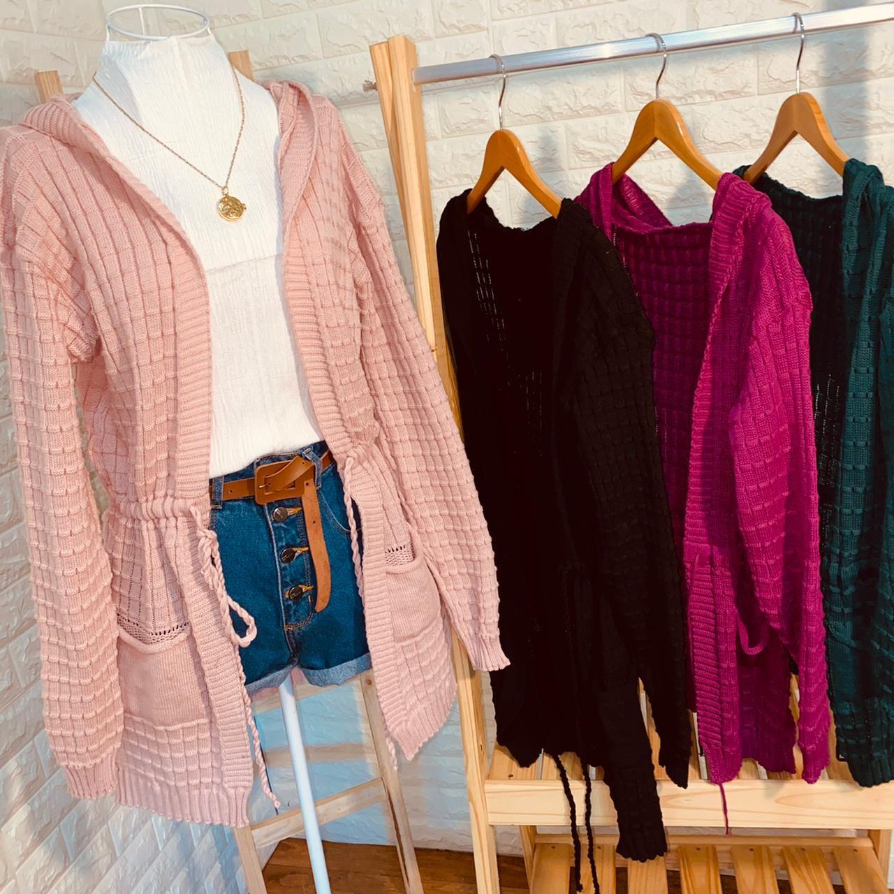 Blusa Maxi Cardigan Tricot Top Rosê