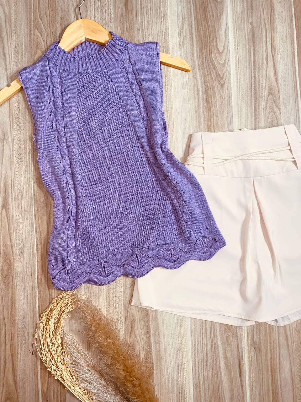 Blusa Regata Tricot Tranças Beatriz Fashion