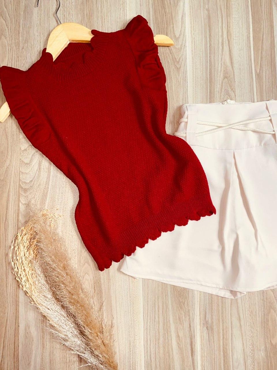 Blusa Regata Vick Tricot Modal Vermelho