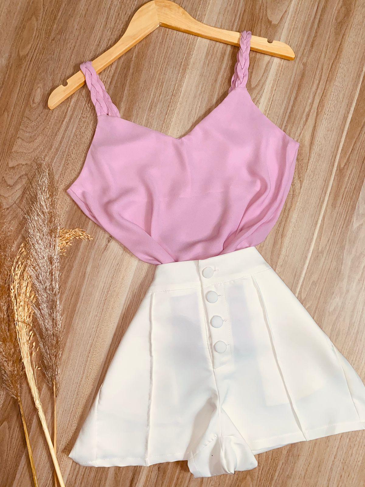 Blusa Top Alcinha Trançada Rosa Claro