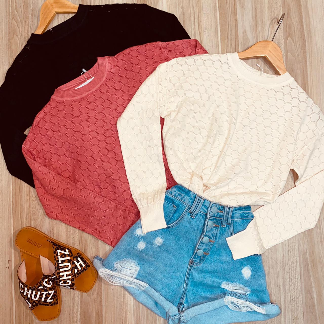 Blusa Tricot Colmeia Modal Fashion