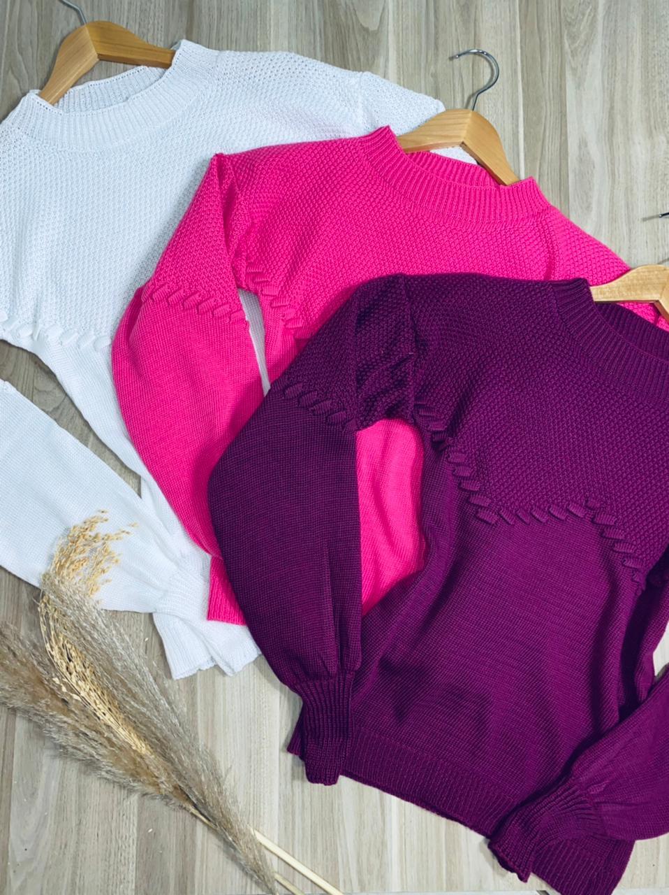 Blusa Tricot com Detalhes em Pipoca Mayara