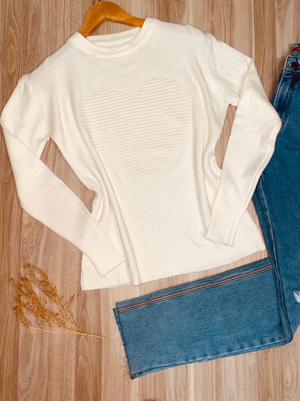 Blusa Tricot Coração em Relevo Off White