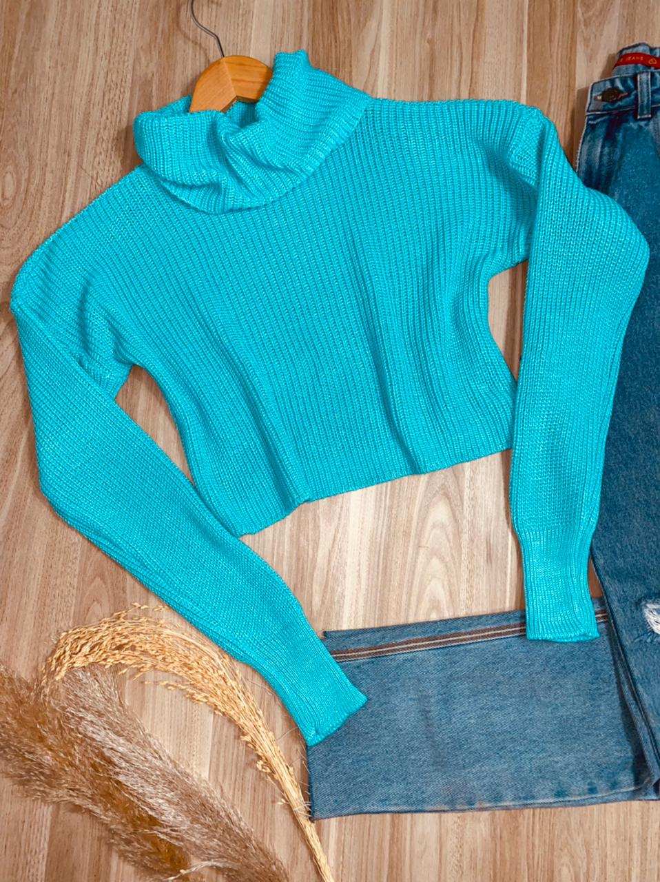 Blusa Tricot Cropped Gola com Punho Thayna