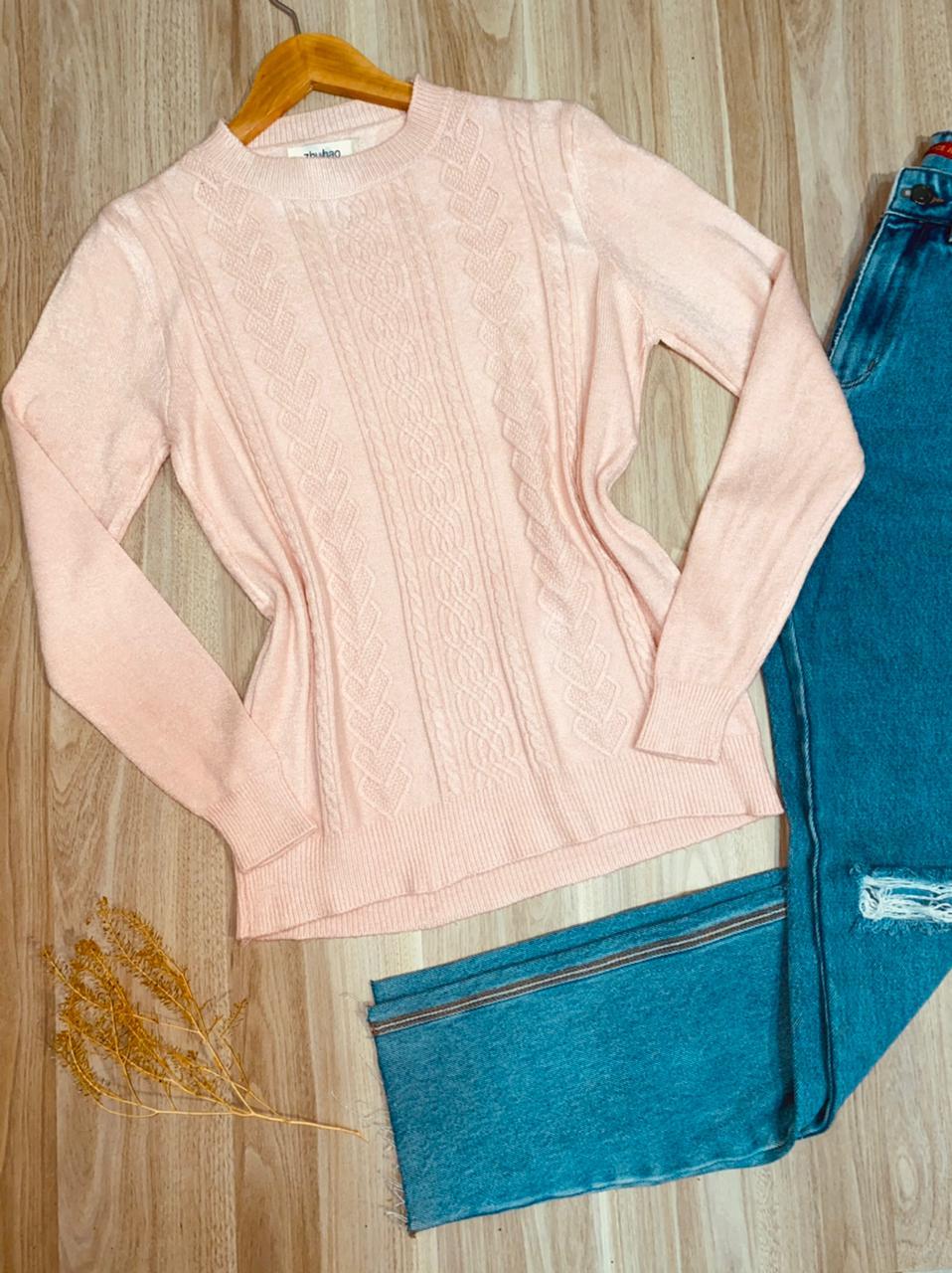 Blusa Tricot Detalhes em Relevo Rosa