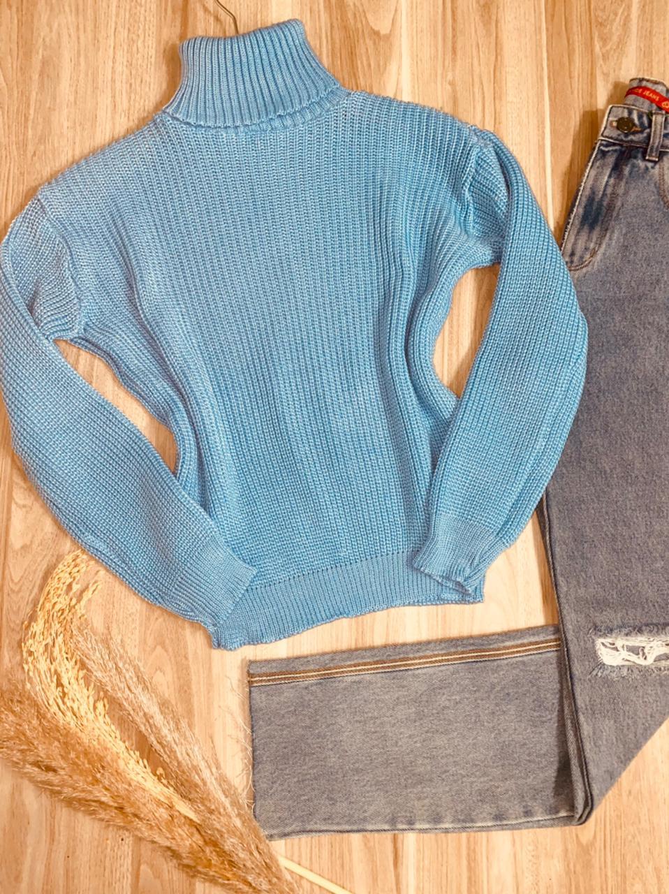 Blusa Tricot Gola Alta com Punho Laura