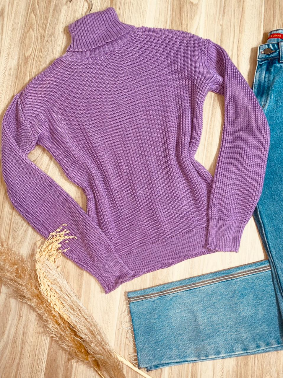 Blusa Tricot Gola Alta com Punho Laura Fashion