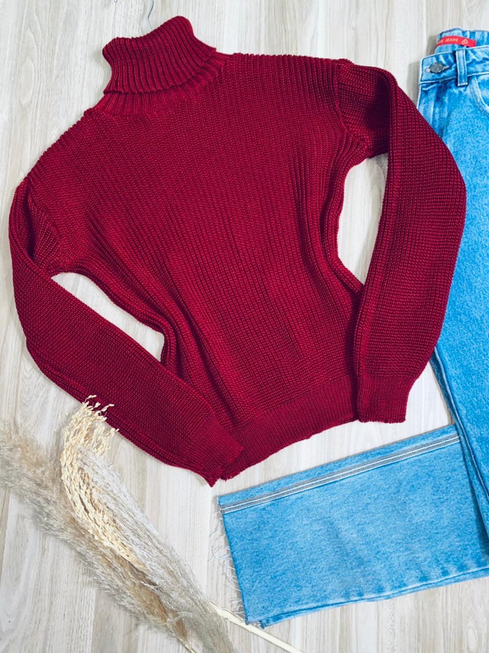 Blusa Tricot Gola Alta com Punho Laura Fashion Vinho