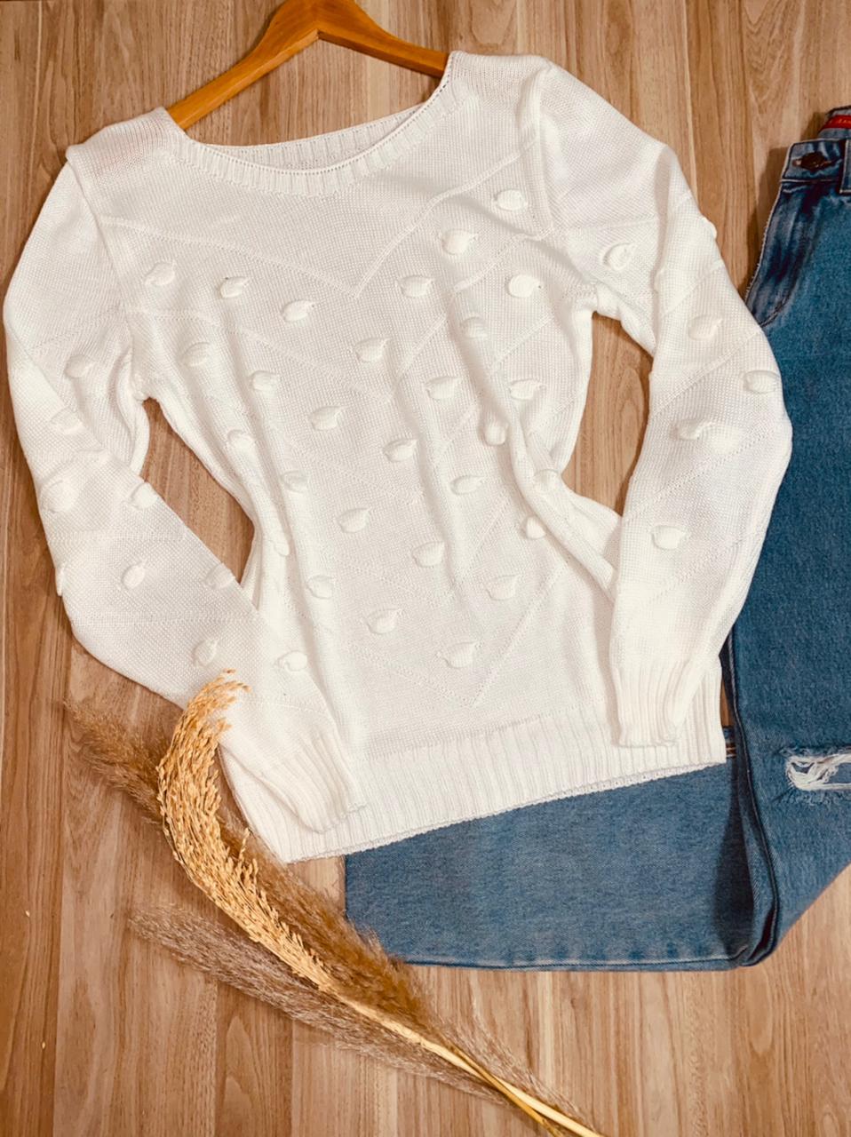 Blusa Tricot Pipoca Regina Off White