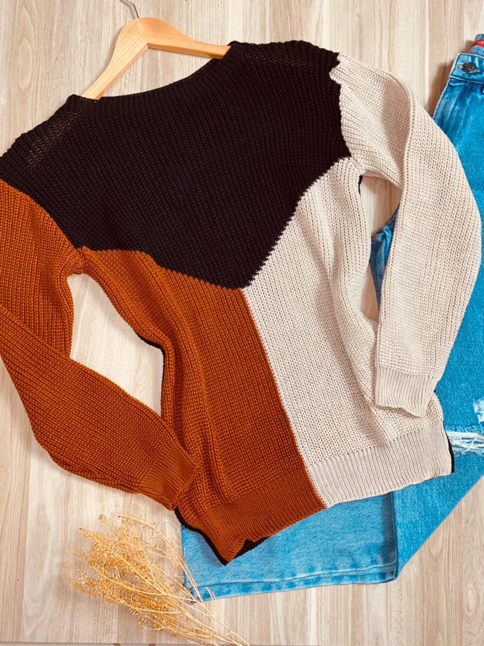 Blusa Tricot Three Colors Fashion