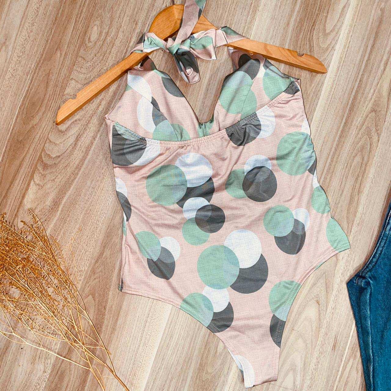 Body Frente Única Com Bojo Bolinhas Nude