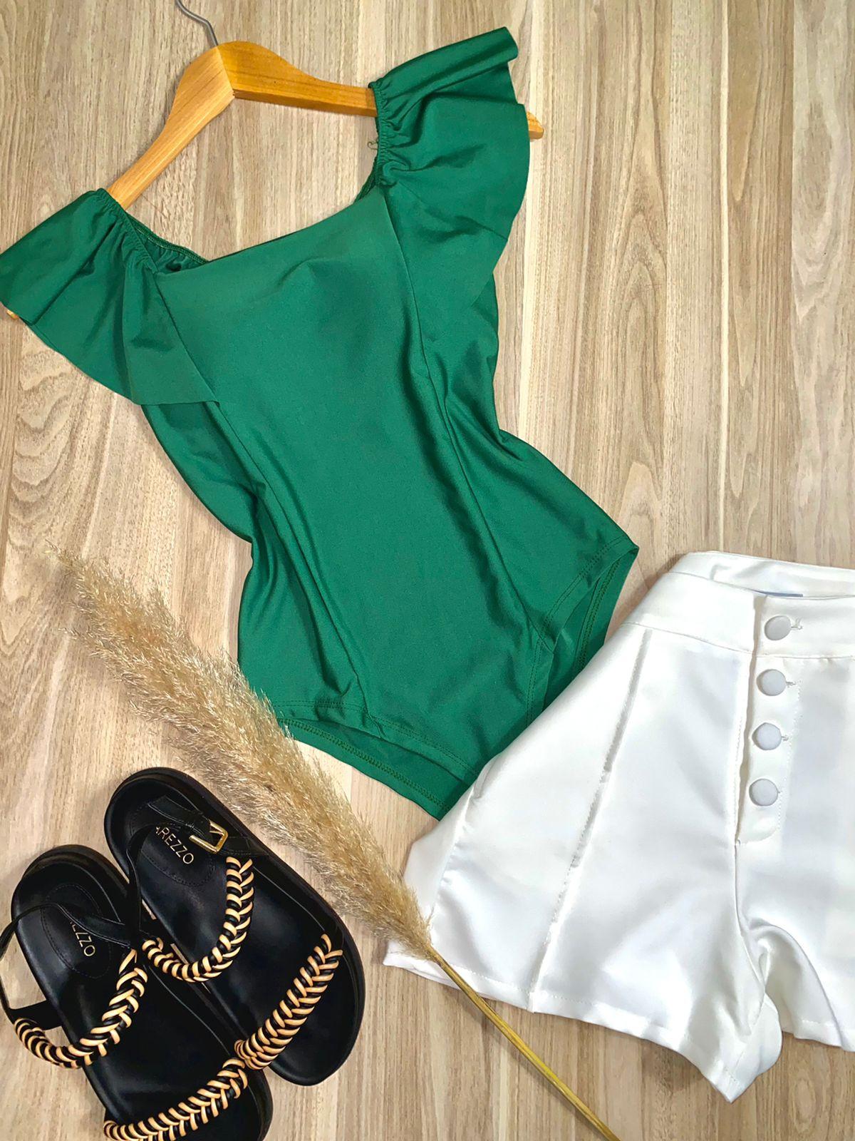 Body Ombro a Ombro com Babado e Bojo Verde