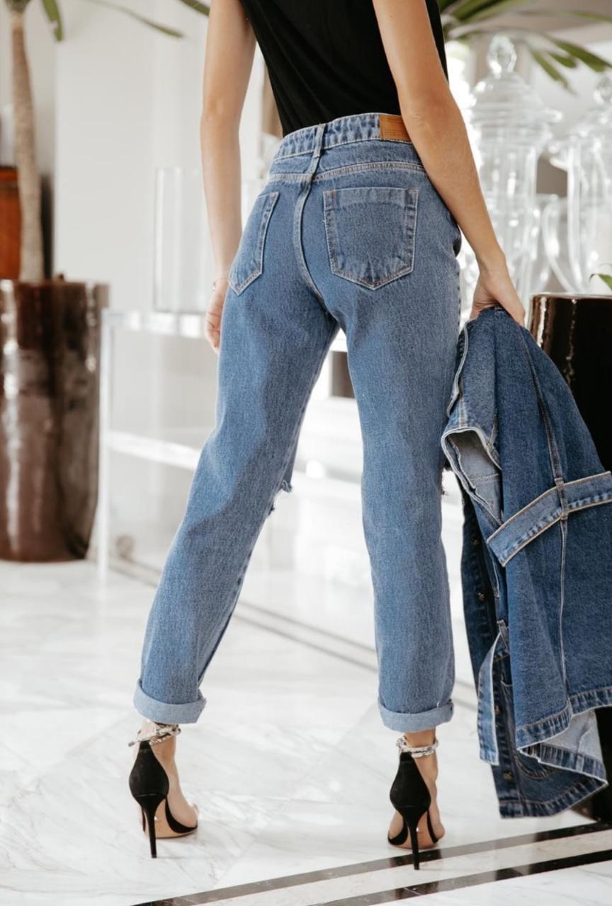 Calça Alcance Jeans Mom Destroyed Média 02056