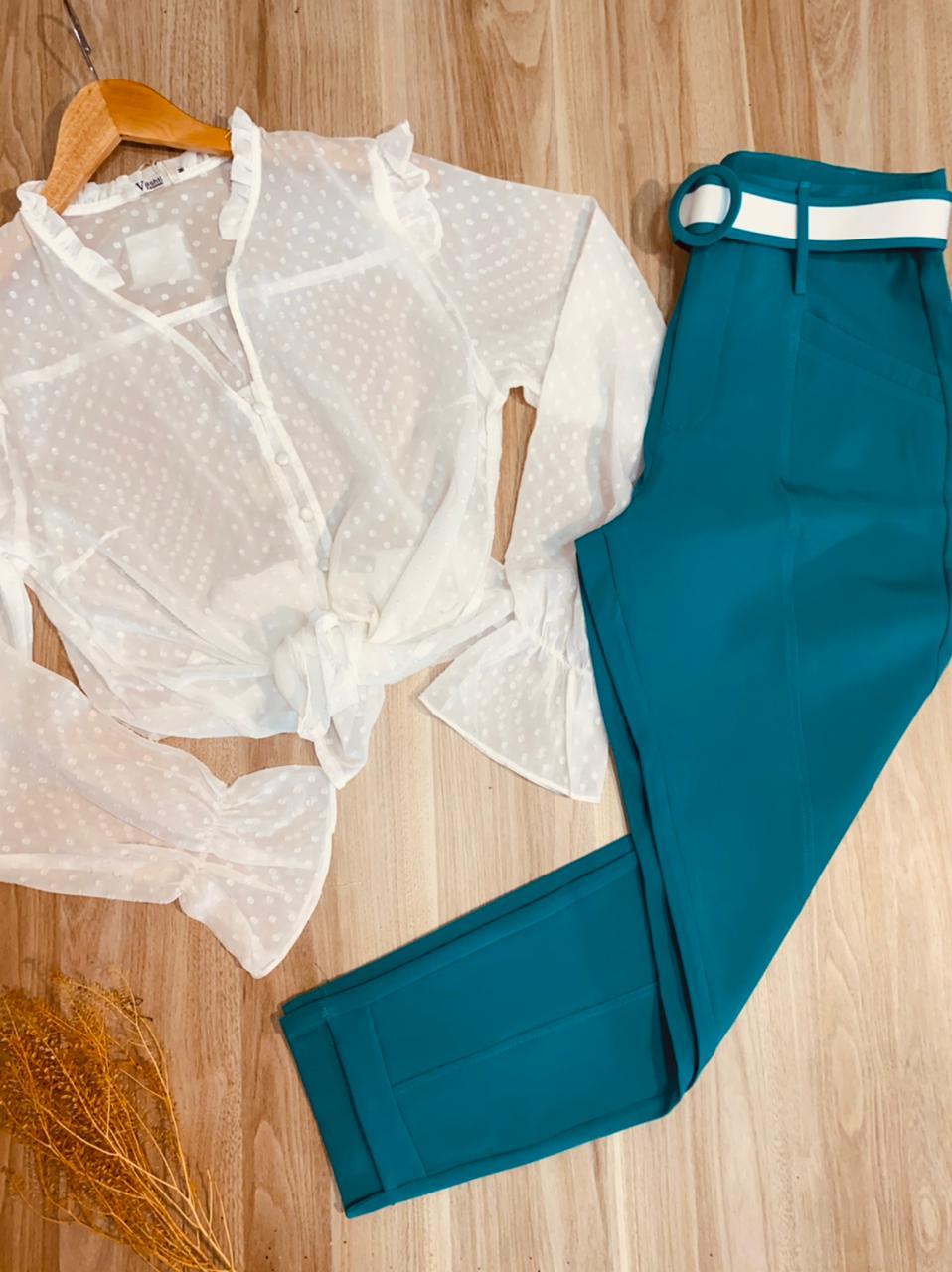 Calça Cós Alto Tecido com Cinto Top Azul
