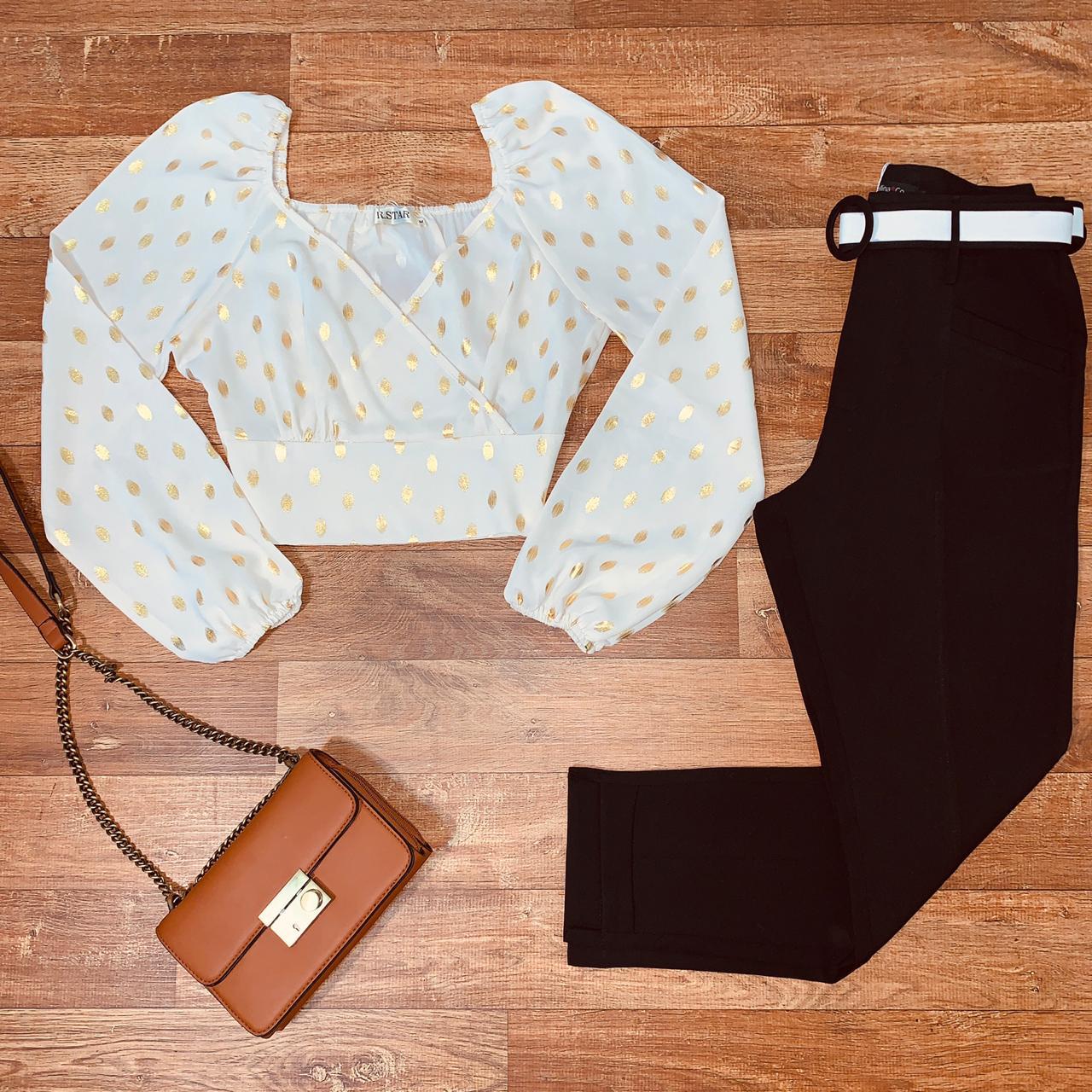 Calça Cós Alto Tecido com Cinto Top Black