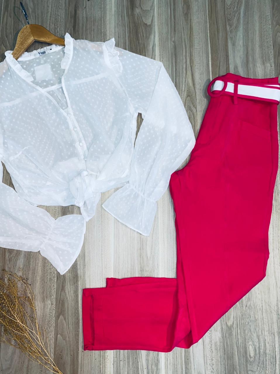 Calça Cós Alto Tecido com Cinto Top Pink