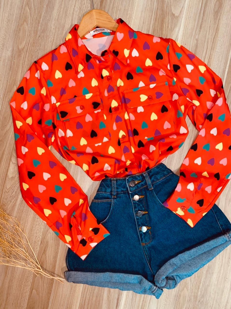 Camisa Corações Coloridos Sarah Laranja