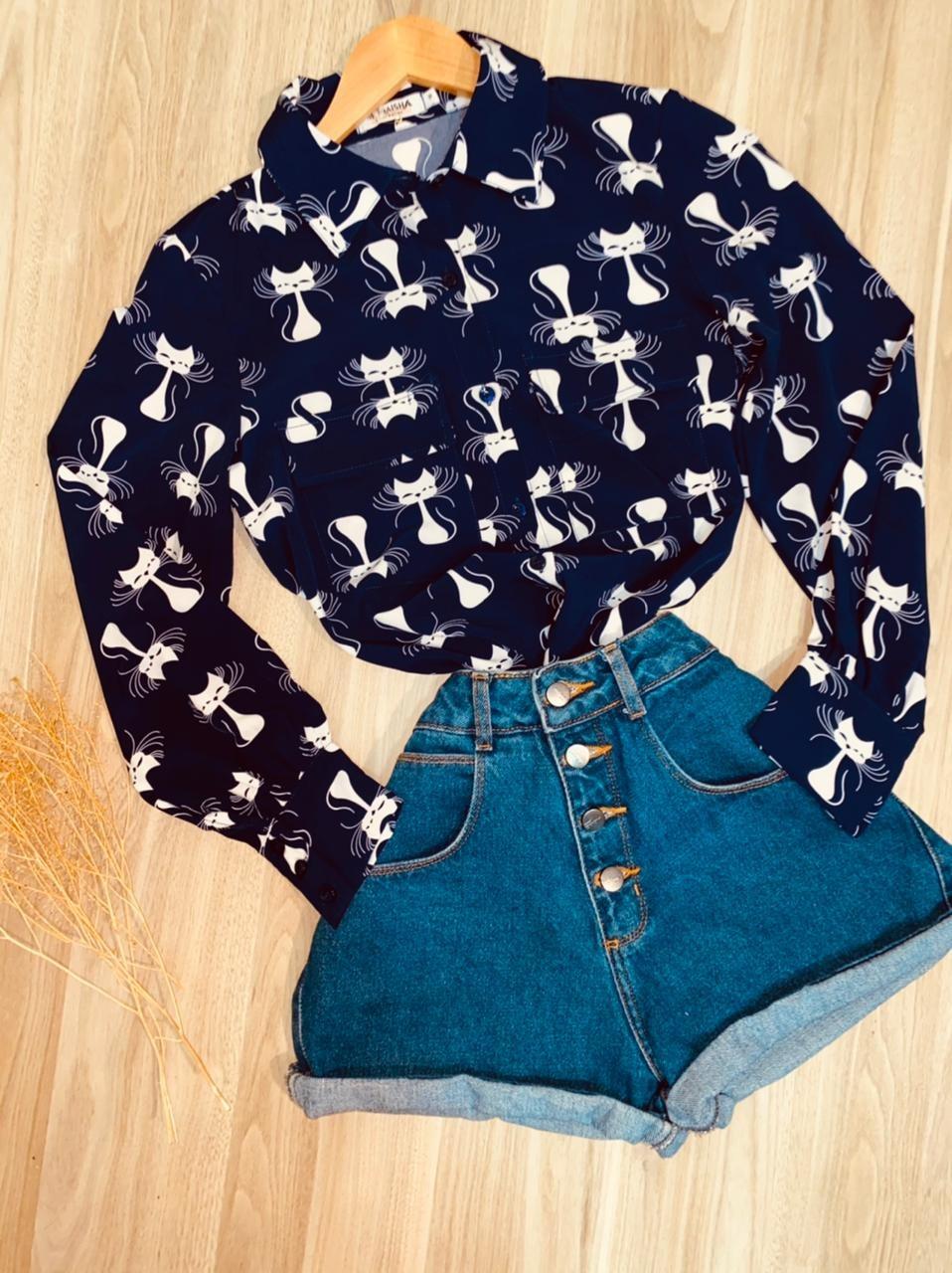 Camisa Gatinhos Sarah Azul Marinho