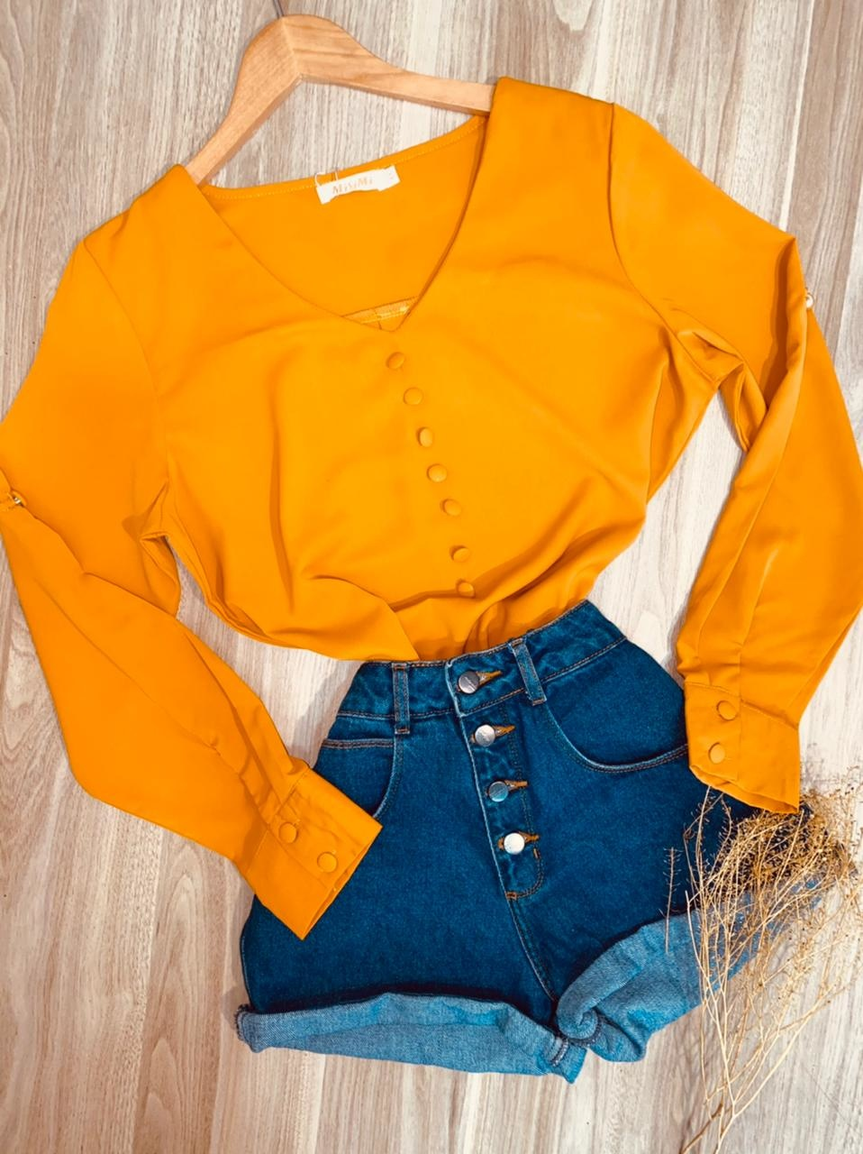 Camisa Manga Longa com Botões Falsos Decote V Sofia