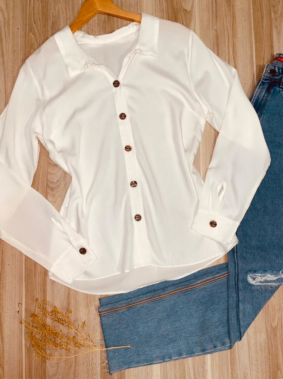 Camisa Manga Longa com Botões Florença Branca