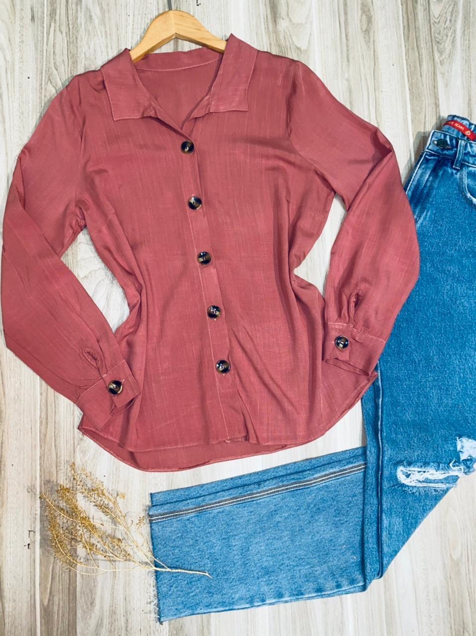 Camisa Manga Longa com Botões Florença Rosa Antigo