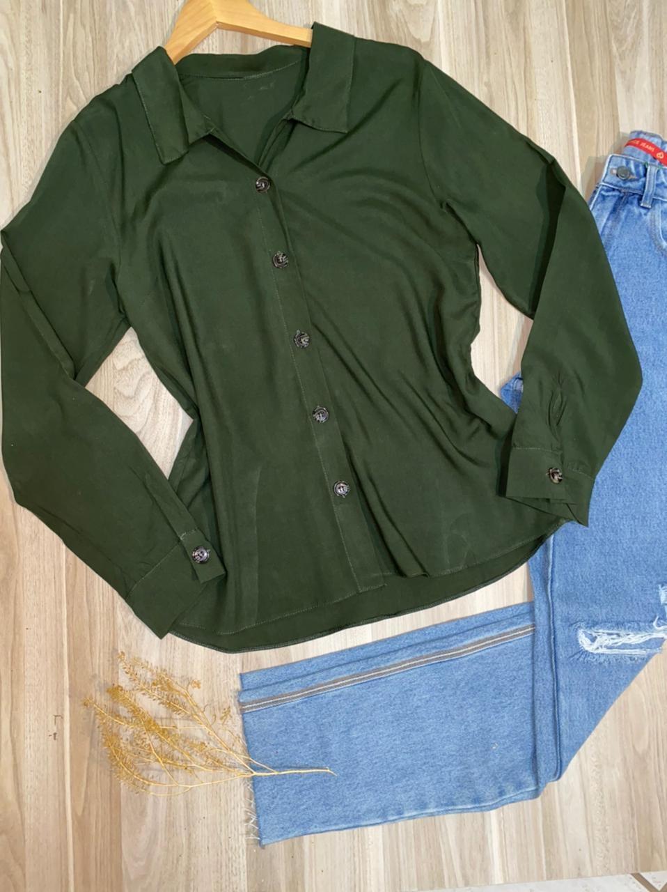 Camisa Manga Longa com Botões Florença Verde Militar