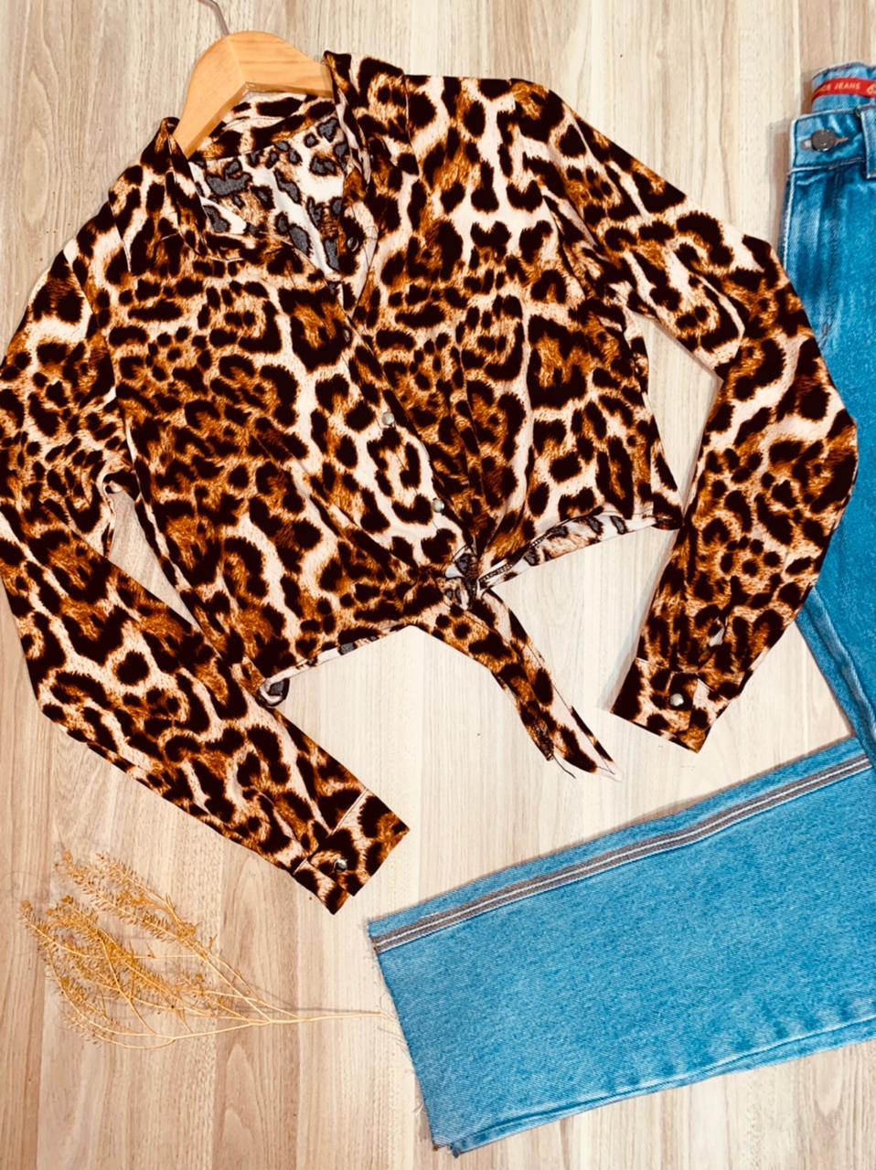 Camisa Manga Longa de Amarrar Embaixo Florença Animal Print