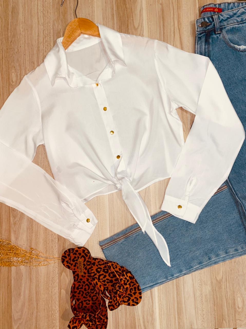 Camisa Manga Longa de Amarrar Embaixo Florença Branca