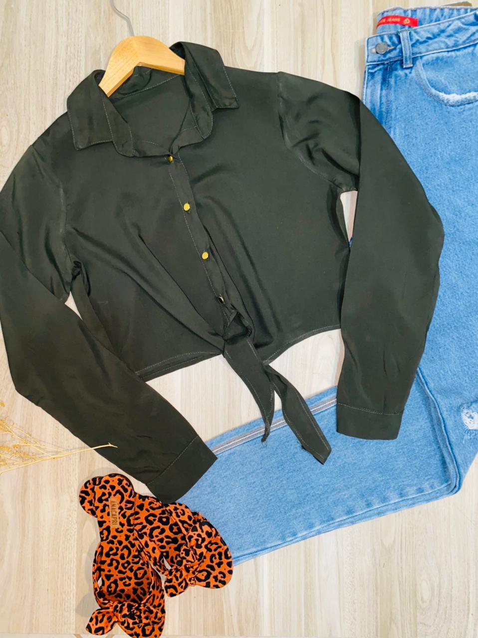 Camisa Manga Longa de Amarrar Embaixo Florença Verde