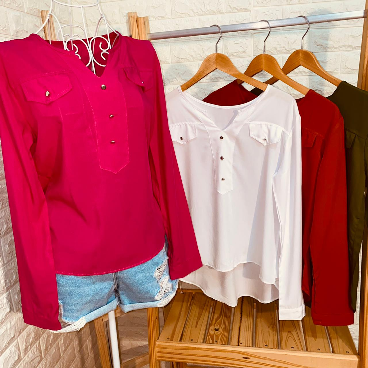 Camisa Manga Longa Decote V com Bolso Falsos Florença White