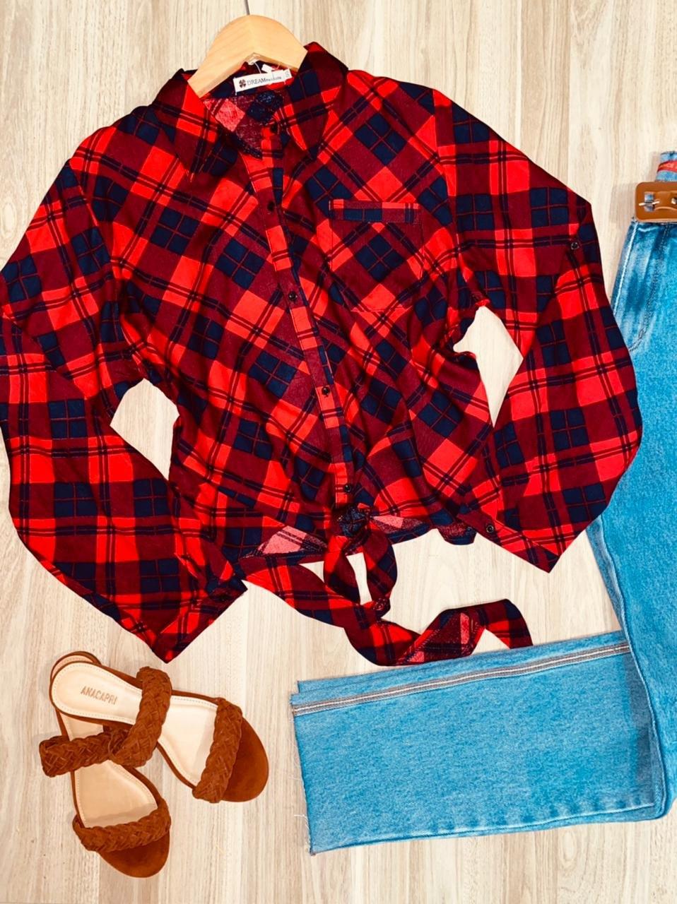 Camisa Xadrez de Amarrar Sarah Red and Blue