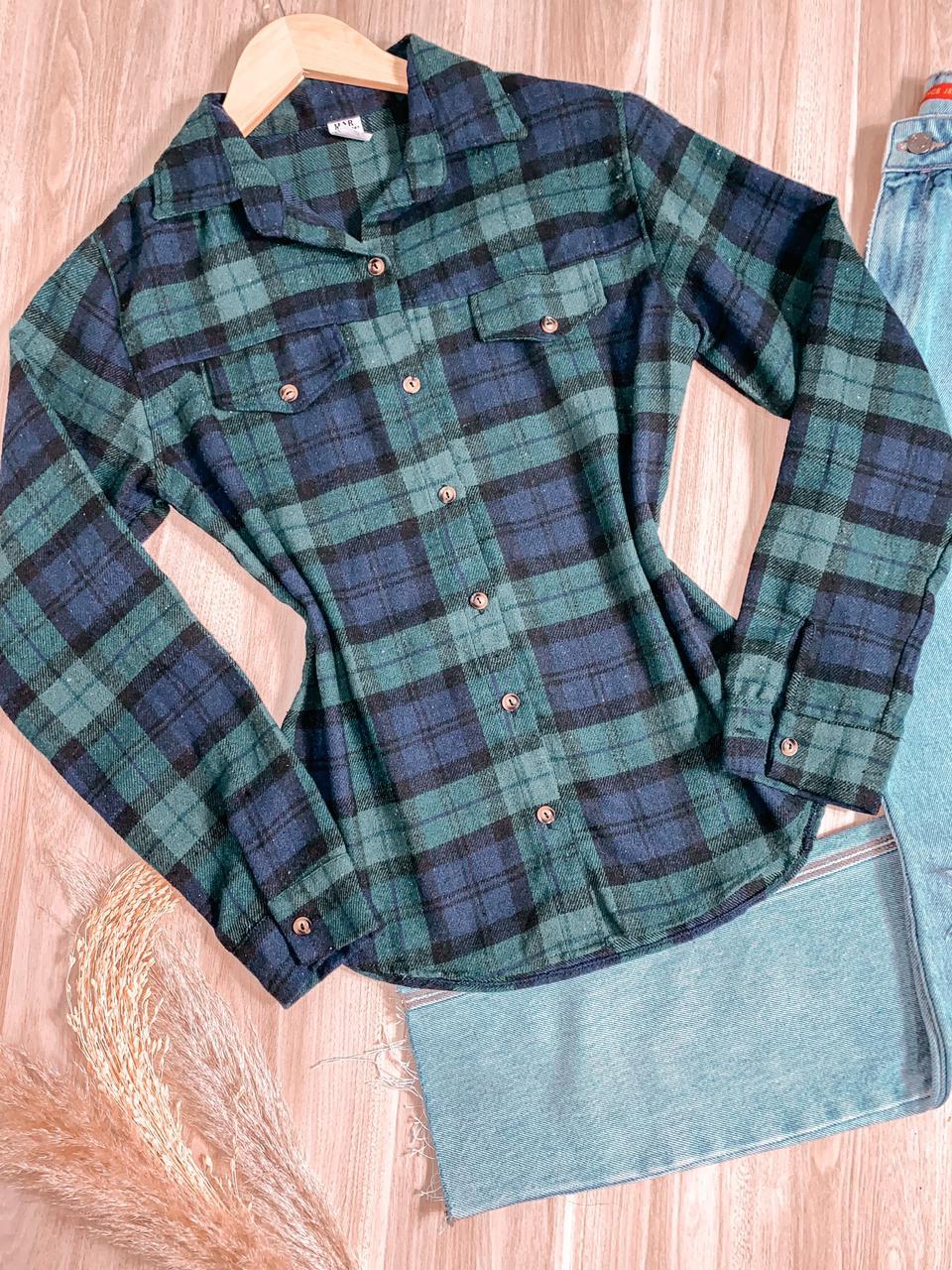 Camisa Xadrez Manga Longa com Bolsinho Falso Duda Verde