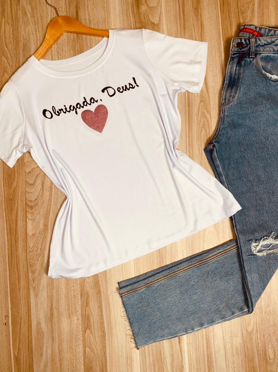 Camiseta Obrigada, Deus com Glitter