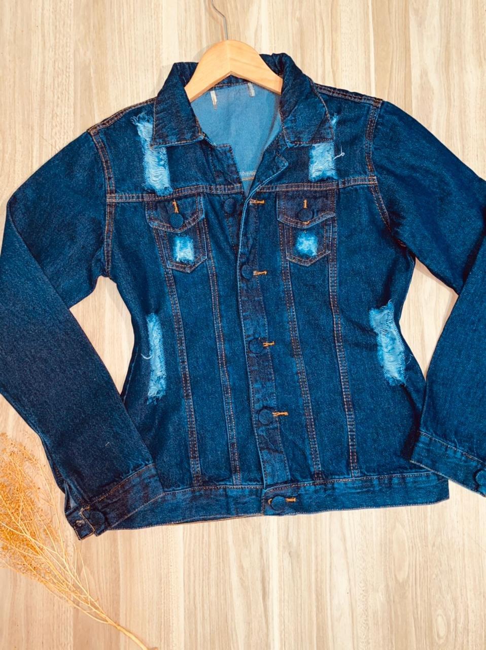 Jaqueta Jeans com Botões Encapados Destroyed Azul Escuro