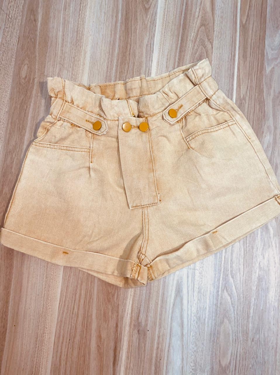 Short Jeans Cós Alto Begê