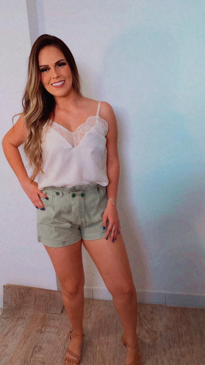 Short Jeans Cós Alto Verde