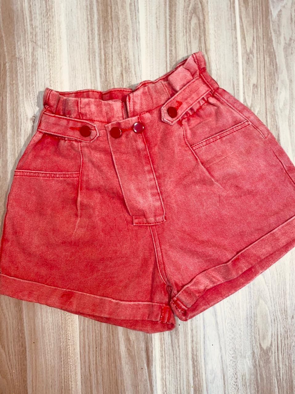 Short Jeans Cós Alto Vermelho