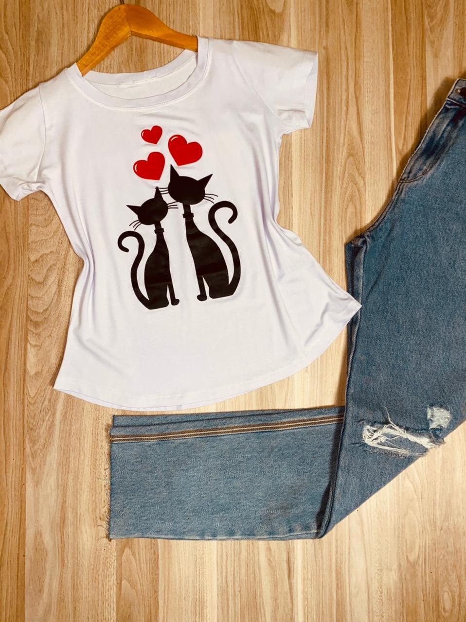 T-shirt Casal de Gatinhos Love