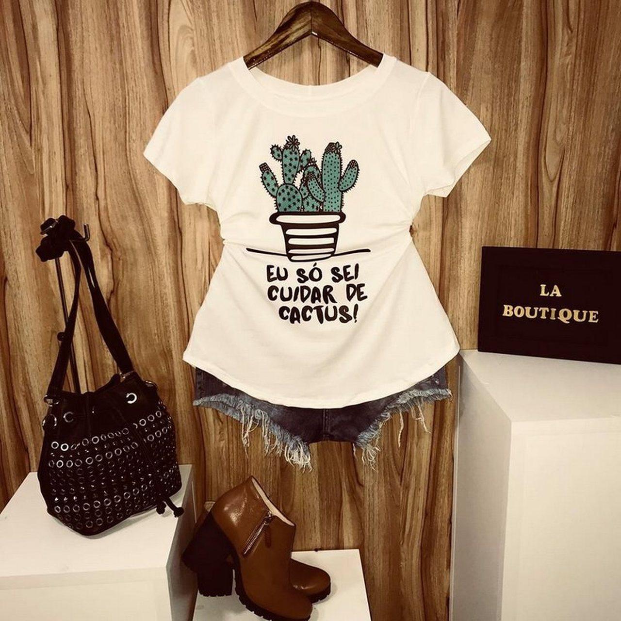 T-shirt Eu só sei cuidar de Cactus