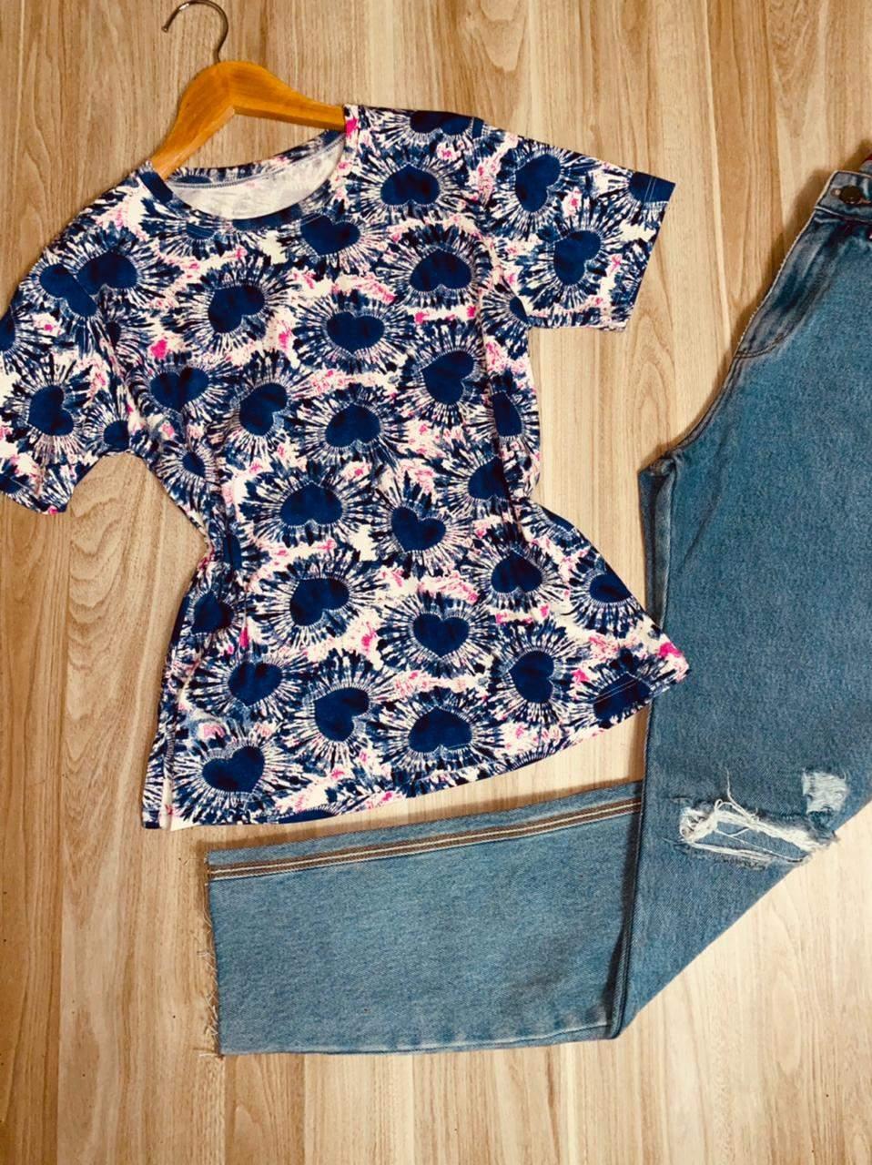 T-shirt Podrinha Corações Fashion