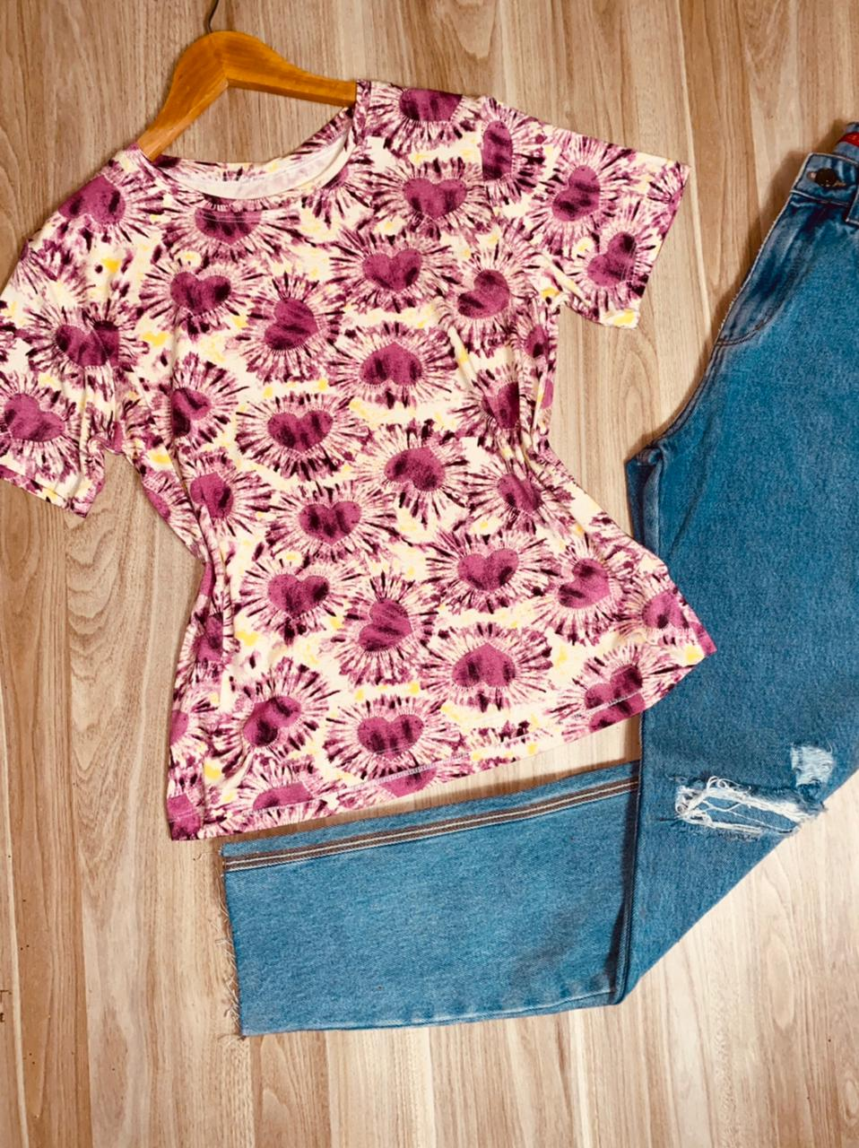 T-shirt Podrinha Corações Pink