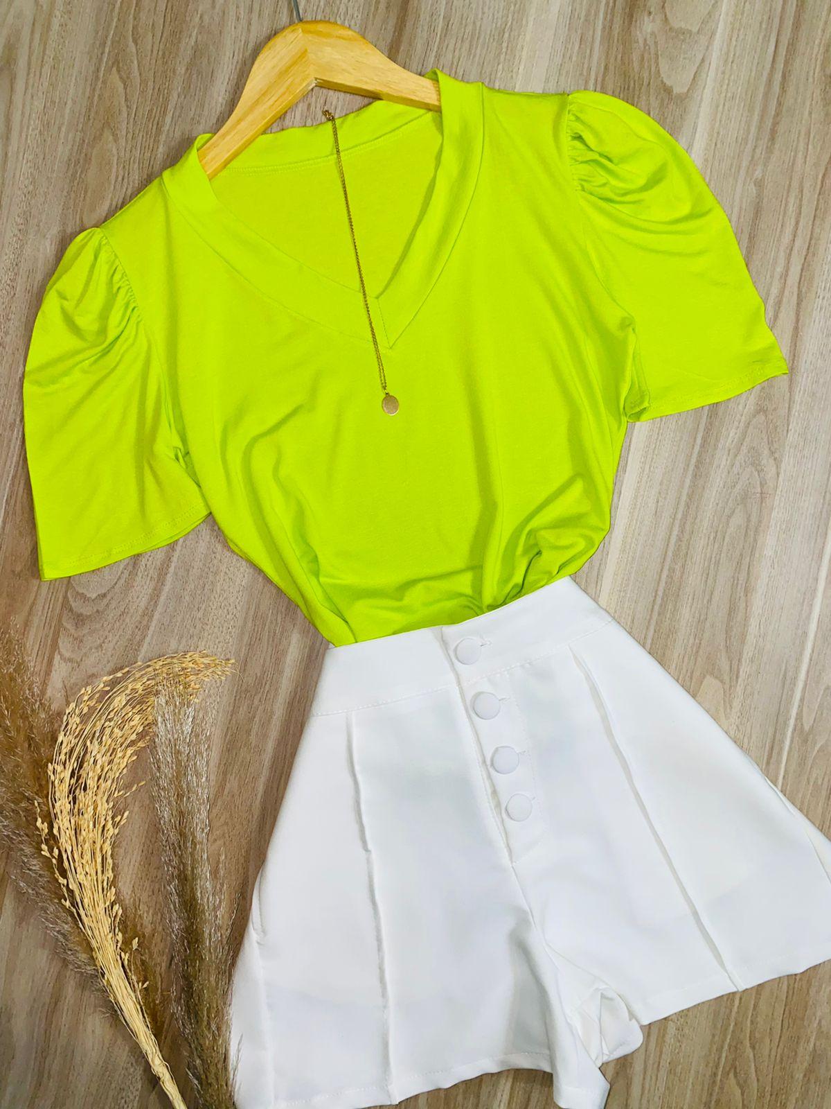 T-shirt Podrinha Manga Princesa Verde Limão