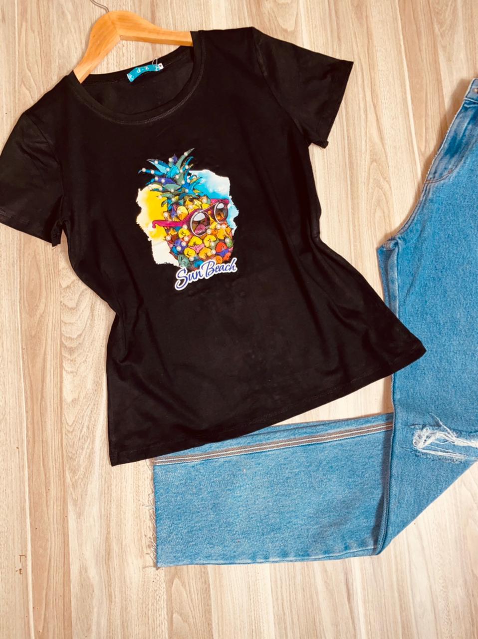 T-shirt Top Abacaxi Sun Beach Black